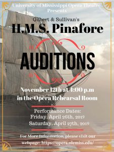 Flyer advertising auditions for HMS Pinafore.